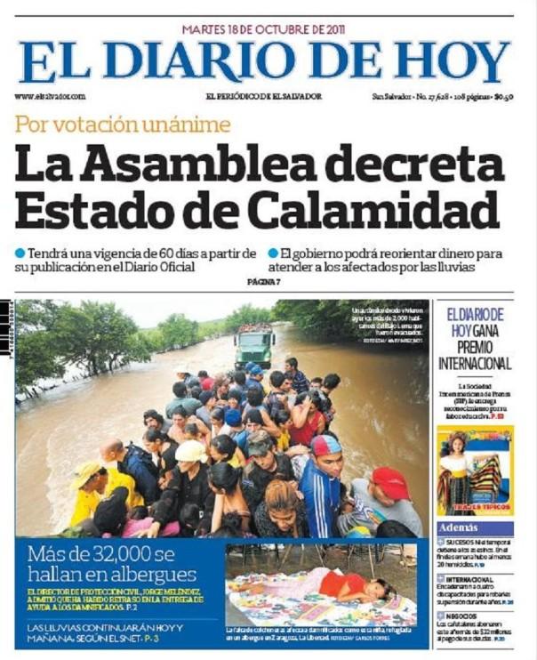 Portada de El Diario de Hoy, de El Salvador, del 18 de octubre, del