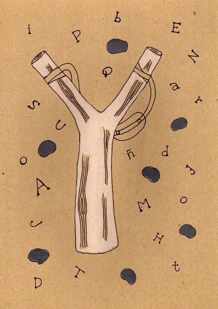"""""""La tiradora (tirachinas) de palabras"""". En lugar de piedras lanza palabras y deseos para cambiar el mundo. Ilustración by Valeria Zelaya Lacayo."""