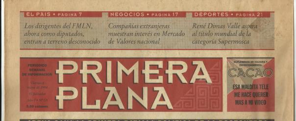Primeras pruebas que se hicieron del semanario Primera Plana. Cabecera del periódico. Viernes 6 de mayo de 1994. Año 0. No. 0A.