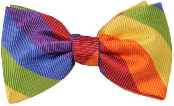 Lazo para el pelo o pajarita con los colores emblemáticos del Orgullo Gay, Lésbico y Trans, que se celebra el 28 de junio.