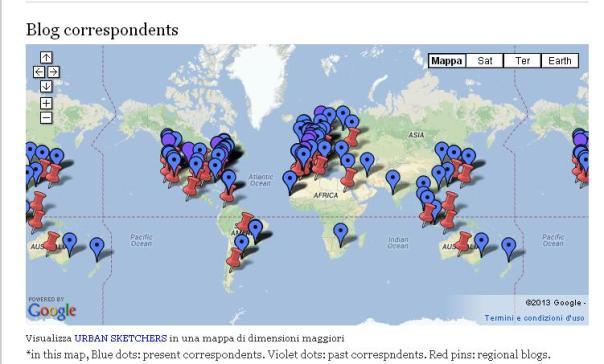 Hacer click en el mapa para dirigirte a la página de Urban Sketchers y localizar a tu grupo más cercano.