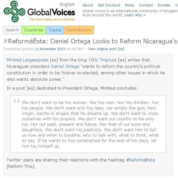 Así luce el artículo en el sitio de Global Voices. Hacé click en la foto para que te lleve al sitio.