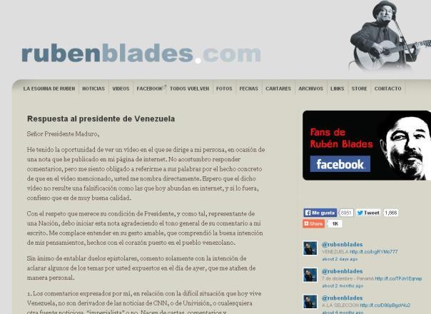 Portada de la página oficial de Rubén Blades, con la carta que le envió al Presidente de Venezuela, Nicolás Maduro.