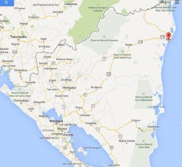Mapa de Nicaragua. Mapa de Bilwi, la ciudad donde ocurre la película y donde vive la directora de cine Dania Torres Hurtado.