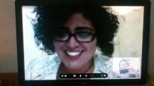 Toma de pantalla que hice durante la entrevista con la directora de la película Lih Wina, Dania Torres Hurtado, por medio de Skype. Escribí sobre ella: https://milyuntropicos.wordpress.com/2014/06/07/tortuga-verde/