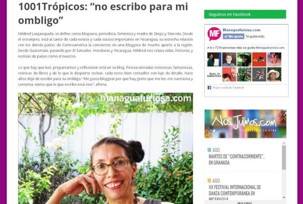 Este blog furioso ya está en Managua Furiosa. Toma de pantalla de la portada de la edición del sitio ManaguaFuriosa.com.