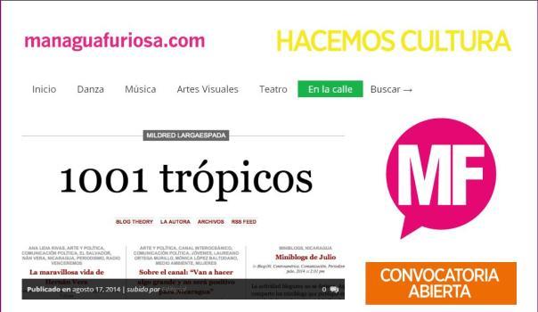Portada de hoy, de ManaguaFuriosa.com con  la nota sobre el blog 1001 trópicos. Click para ir al sitio.