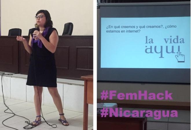 María Martha Escobar, ciberfeminista, durante el #FemHack en Nicaragua, el 6 de junio del 2015.