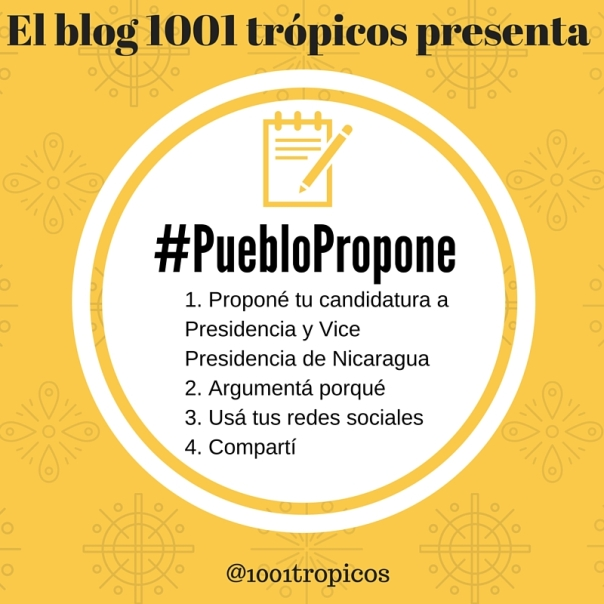 Este es el procedimiento para proponer tu candidatura a Presdencia y Vice Presidencia de Nicaragua, para las próximas eleccionas del 2016. Usá el hashtag #PuebloPropone
